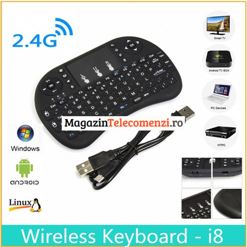Telecomanda cu tastatura si touchpad mouse wireless